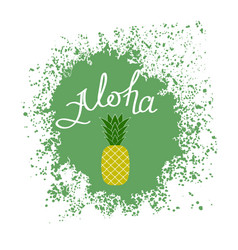 Lettering alohatext with pineapple hand sketched vector