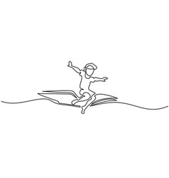 Little boy flying on book in the sky vector