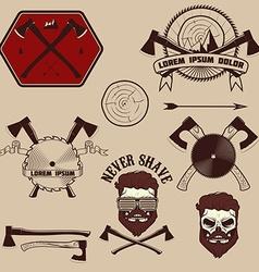 Lumberjack emblems set vector