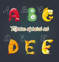 Marine cartoon fun alphabet vector