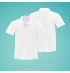 Mens white polo shirt template Realistic vector