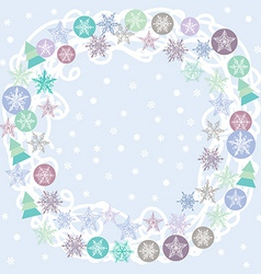Merry Christmas Card turquoise lilac and purple vector
