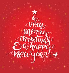 merry christmas handwritten tree shape typography vector image