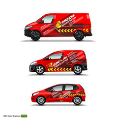 mocup set with advertisement on red car cargo van vector image