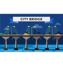 Modern bridge city night view vector