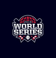 Modern professional emblem logo world series vector