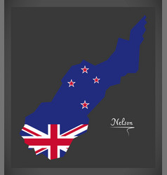 Nelson new zealand map with national flag vector