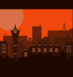 Night industrial european orange styled vintage vector