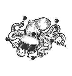 Octopus playing drum sketch vector