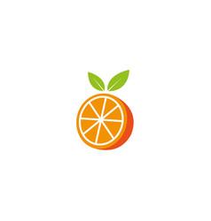Orange half piece pulp with leaf logo icon vector