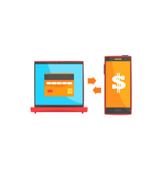 Payment transaction with smartphone and laptop vector