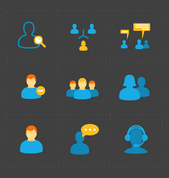 People flat icons set on black vector