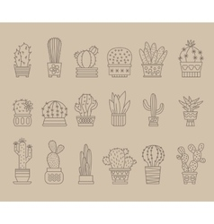 Plants and Cactuses in Pots Linear Set vector image vector image