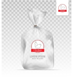 Plastic gift bag with gold shiny ribbon vector image