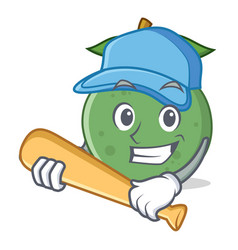Playing baseball guava character cartoon style vector