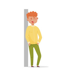 Red-haired man leaning against wall and vector