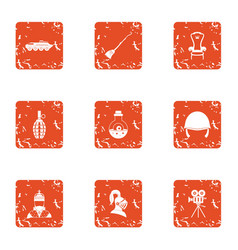 Religious warfare icons set grunge style vector