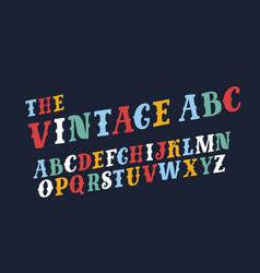 retro slanted font and alphabet vector image