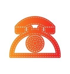 Retro telephone sign Orange applique isolated vector image