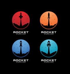 Rocket launch set logo template vector