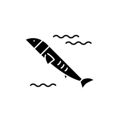 salmon black icon sign on isolated vector image