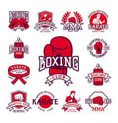 set cool fighting club emblems martial training vector image