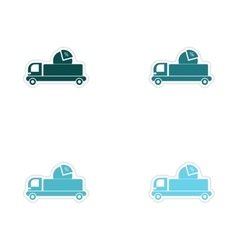 Set of paper stickers on white background car vector