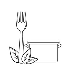 silhouette pot kitchen with fork tool and leaves vector image