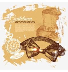 Sketch gentlemen accessory vintage background vector image