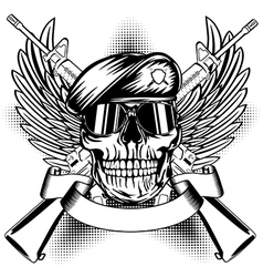 Skull in beret and two automatic guns vector