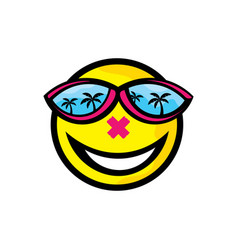 Smile in beach icon logo vector