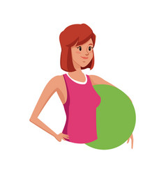 Sport girl fitness with fitball gym design vector