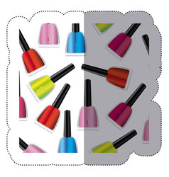 Sticker colorful silhouette with nail polish vector