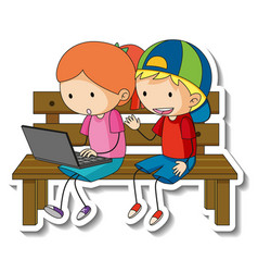 Sticker template with couple of kids cartoon vector