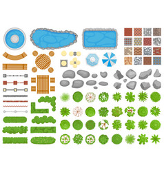 Top view park items garden walkway outdoor vector