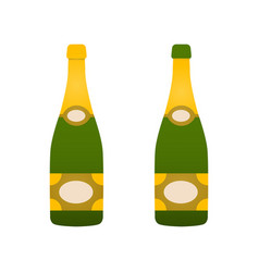 two bottles of champagne flat icon symbol of wine vector image