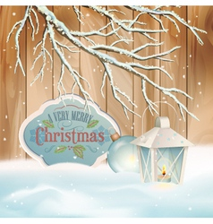 Vintage Christmas Snow Branch Lantern Background vector