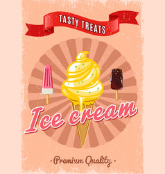 vintage colorful ice cream poster vector image