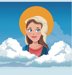 Virgin mary spiritual cloud sky background vector