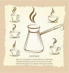 voffee maker and cups vintage poster vector image