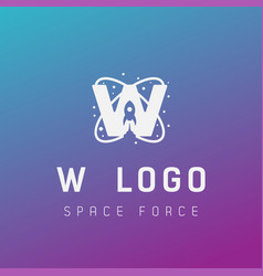 W initial space force logo design galaxy rocket vector
