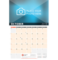 Wall calendar planner for 2018 year design print vector
