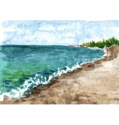 Watercolor coast of sea vector