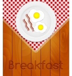 White Plate with Fried Eggs on Kitchen Napkin at vector