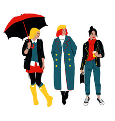 women s autumn street style three young women or vector image