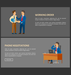 working order and phone negotiations poster vector image