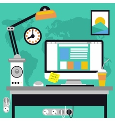 Workplace with computer and map on background vector image
