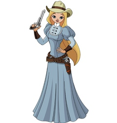 Young cowgirl vector image