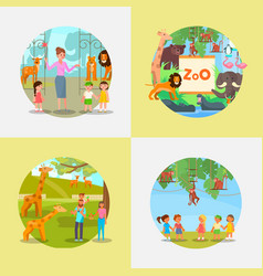 zoo icon set flat style vector image