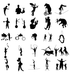 Circus silhouette set simple style vector image vector image